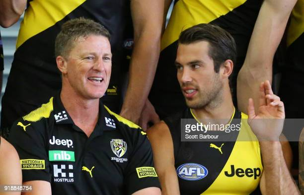 Damien Hardwick coach of the Tigers and Alex Rance of the Tigers talk during a Richmond Tigers AFL team photo session at Punt Road Oval on February...