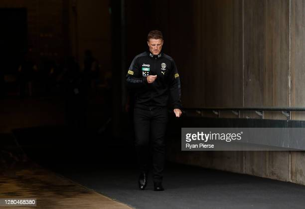 Damien Hardwick, coach of the Tigers, looks on before the AFL First Preliminary Final match between the Port Adelaide Power and Richmond Tigers at...