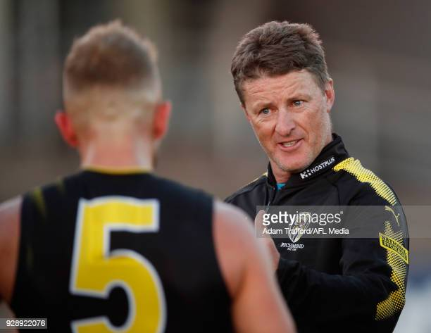 Damien Hardwick Senior Coach of the Tigers addresses his players during the AFL 2018 JLT Community Series match between the Richmond Tigers and the...