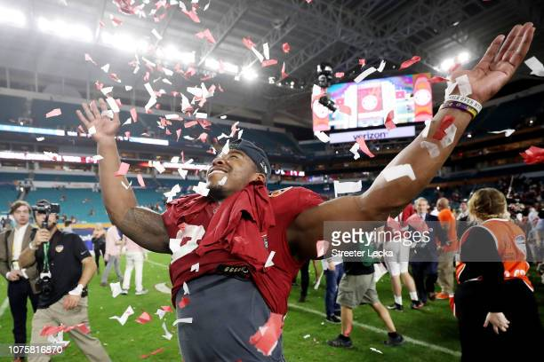 Damien Harris of the Alabama Crimson Tide celebrates the win over the Oklahoma Sooners during the College Football Playoff Semifinal at the Capital...