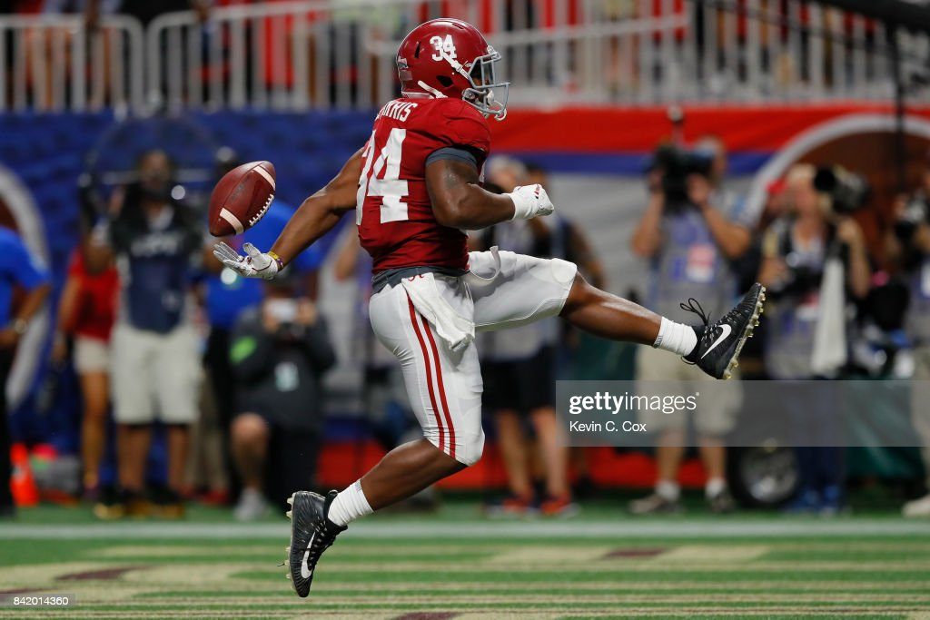 Damien Harris #34 of the Alabama Crimson Tide rushes for a touchdown in the third quarter of their game at Mercedes-Benz Stadium on September 2, 2017 in Atlanta, Georgia.