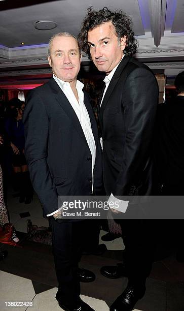 Damien Hirst and Ant Genn attend the Motilocom Party to celebrate the month of 'Love' at Le Baron At Embassy on January 31 2012 in London England