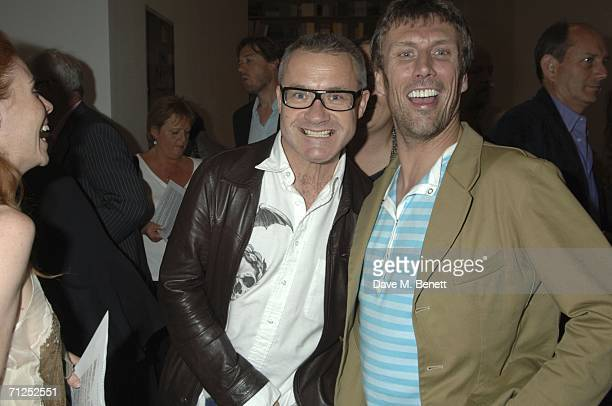 Damien Hirst and Bez Berry attend Hirst's 'A Thousand Years and Triptychs' private view at the Gagosian Gallery on June 20 2006 in London England