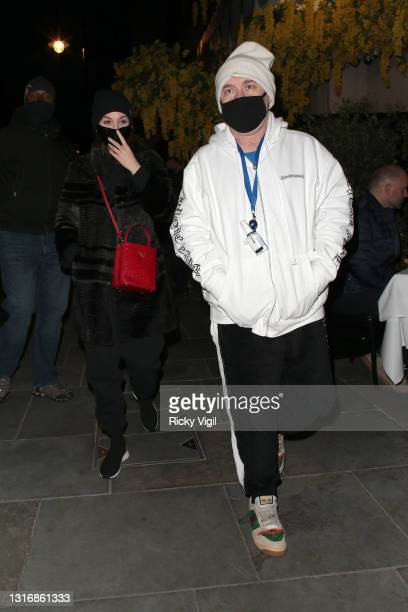 Damien Hirst and his girlfriend Sophie Cannell on a night out for dinner at Scott's restaurant in Mayfair on May 07, 2021 in London, England.