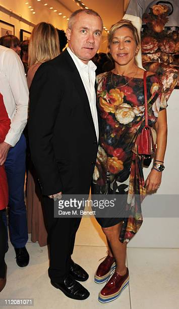 Damien Hirst and Maia Norman attend the launch of The Mother of Pearl M.O.P SHOP at the Other Criteria store on April 12, 2011 in London, England.