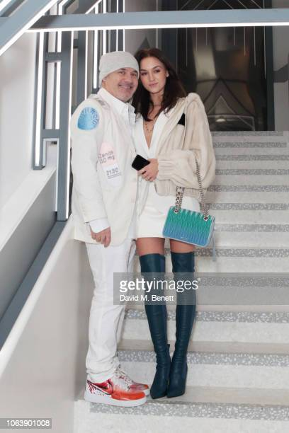 Damien Hirst and Sophie Cannell attend the launch of new restaurant Brasserie Of Light at Selfridges on November 20 2018 in London England