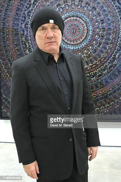 """Damien Hirst attends a private view of """"Damien Hirst: Mandalas"""" at White Cube Gallery on September 19, 2019 in London, England."""