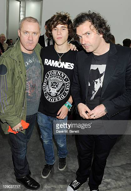 Damien Hirst Connor Hirst and Ant Genn attend the opening of the new White Cube Bermondsey gallery on October 11 2011 in London England