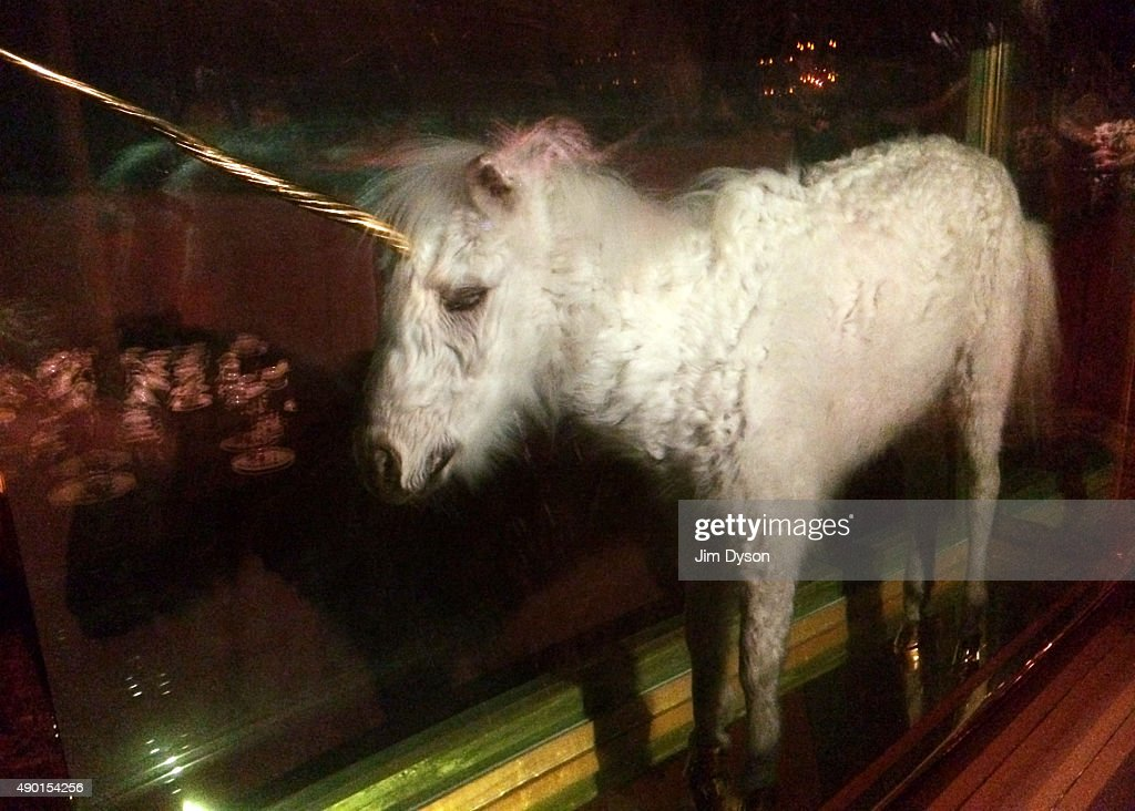 Damien Hirst sculpture of a unicorn is displayed during the final weekend closing party of Dismaland on September 25, 2015 in Weston-Super-Mare, England. Graffiti artist Banksy opened the subversive, pop-up 'Bemusement Park' exhibition at the derelict seafront Tropicana lido for five weeks, attracting 150,000 visitors.