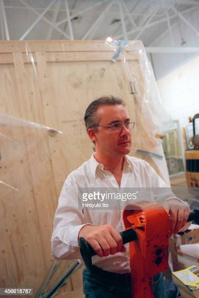 Damien Hirst the British installation artist overseeing his upcoming exhibition at Gagosian Gallery on September 14 2000