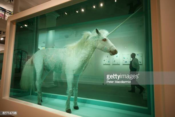 Damien Hirst's 'The Dream' is displayed with other works at Sotheby's auction 'Beautiful Inside My Head Forever' on September 8, 2008 in London,...