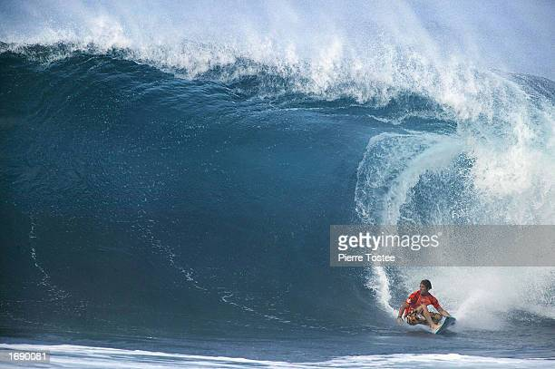 Damien Hobgood of the USA in action during the Xbox Pipeline Masters at the Banzai Pipeline on the North Shore of Oahu in Hawaii USA on December 16...