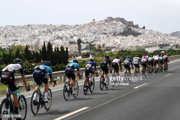 Damien Howson of Australia and Team BikeExchange, Luis Leon Sanchez Gil of Spain and Team Astana – Premier Tech and a general view of the Breakaway...