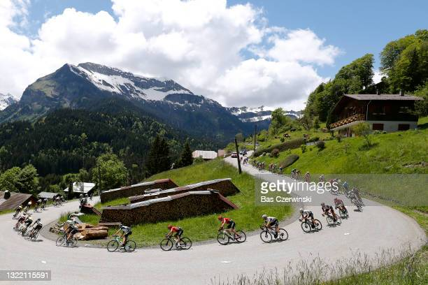 Damien Howson of Australia and Team BikeExchange, Nairo Alexander Quintana Rojas of Colombia and Team Arkéa - Samsic, Lukasz Owsian of Poland and...