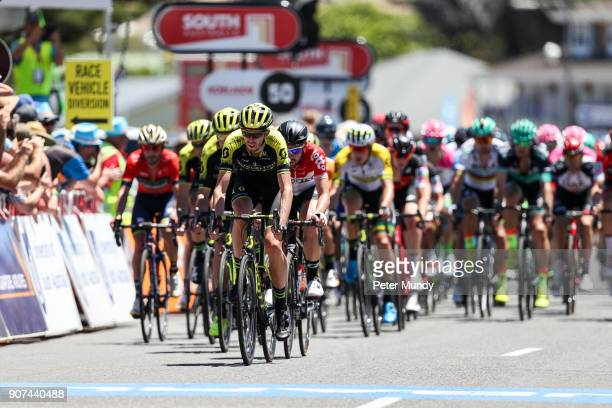 Damien Howson of MitcheltonSCOTT leading the peleton in the last lap of Stage three from Glenelg to Victor Harbour at the Santos Tour Down Under on...