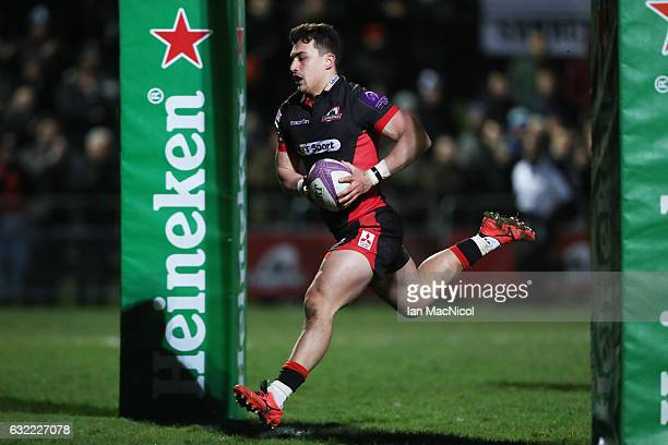 Damien Hoyland of Edinburgh scores his teams sixth try during the European Rugby Challenge Cup match between Edinburgh Rugby and Timisoara Saracens...