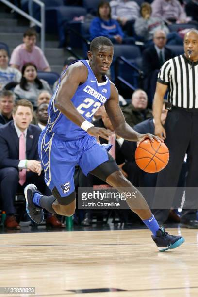 Damien Jefferson of the Creighton Bluejays drives to the basket in the game against the DePaul Blue Demons during the first half at Wintrust Arena on...
