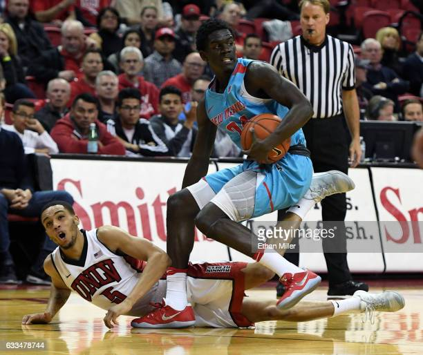 Damien Jefferson of the New Mexico Lobos steals the ball from Jalen Poyser of the UNLV Rebels during their game at the Thomas Mack Center on February...