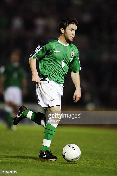 Damien Johnson of Northern Ireland runs with the ball during the Group 6 World Cup Qualifying match between Northern Ireland and Austria at Windsor...