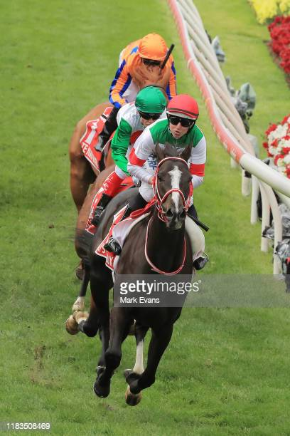 Damien Lane on Lys Gracieux wins race 9 the Ladbrokes Cox Plate during Cox Plate Day at Moonee Valley Racecourse on October 26, 2019 in Melbourne,...