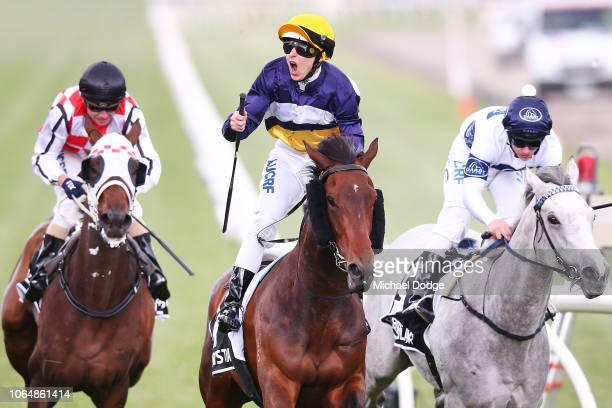 Damien lane riding Aristia wins race 8 The Kennedy Oaks during Oaks Day at Flemington Racecourse on November 08 2018 in Melbourne Australia