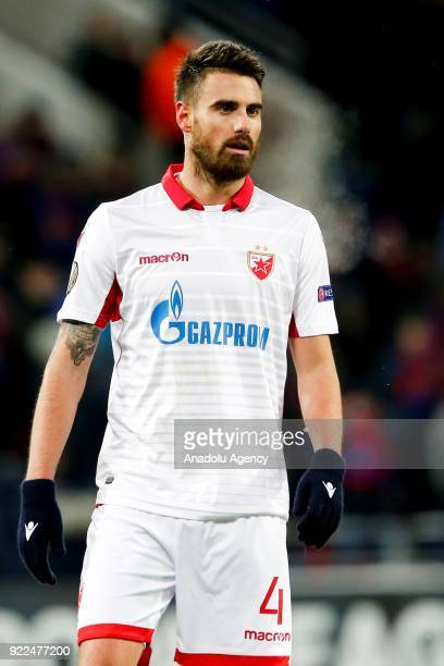 Damien Le Tallec of Crvena Zvezda is seen during the UEFA Europa League round of 32 second leg soccer match between CSKA Moscow and Crvena Zvezda at...