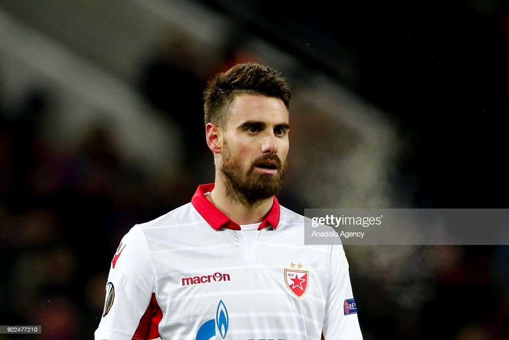 Damien Le Tallec of Crvena Zvezda is seen during the UEFA Europa League round of 32, second leg soccer match between CSKA Moscow and Crvena Zvezda at the Stadium CSKA Moscow in Moscow, Russia on February 21, 2018.