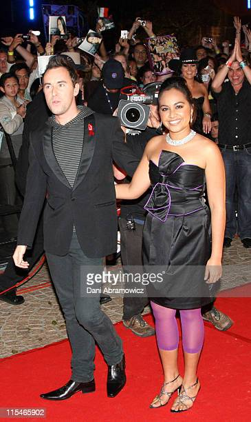 Damien Leith and Jessica Mauboy during ''Australian Idol'' Grand Final November 26 2006 at Sydney Opera House in Sydney NSW Australia