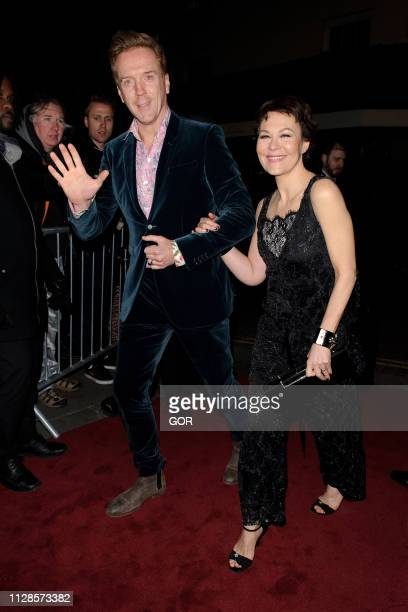 Damien Lewis and Helen McCrory seen attending the Charles Finch PreBAFTA Party at Loulou's on February 09 2019 in London England