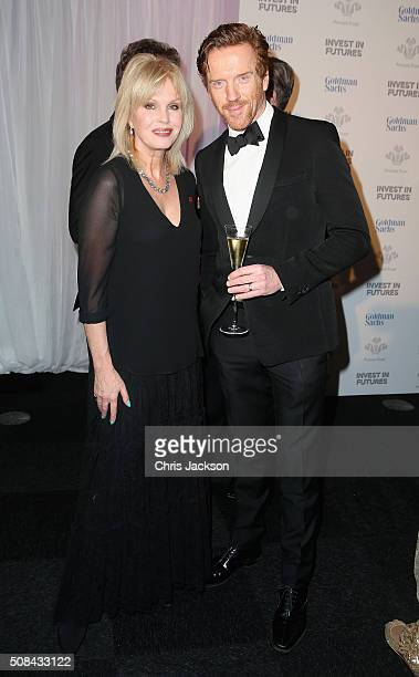 Damien Lewis and Joanna Lumley attend a pre-dinner reception for the Prince's Trust Invest in Futures Gala Dinner at The Old Billingsgate on February...