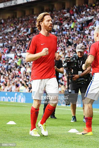 Damien Lewis warms up during Soccer Aid at Old Trafford on June 5, 2016 in Manchester, England.