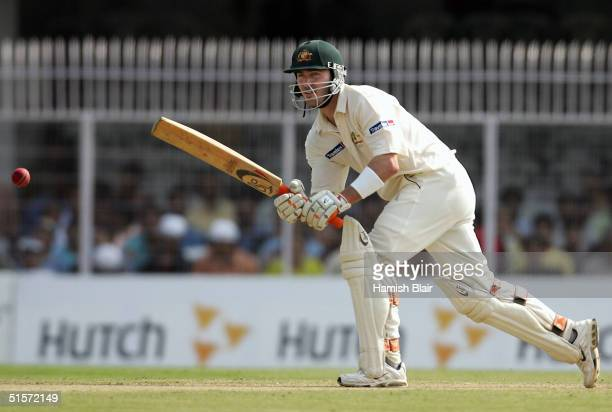 Damien Martyn of Australia in action duing day one of the Third Test between India and Australia played at the VCA Stadium on October 26, 2004 in...