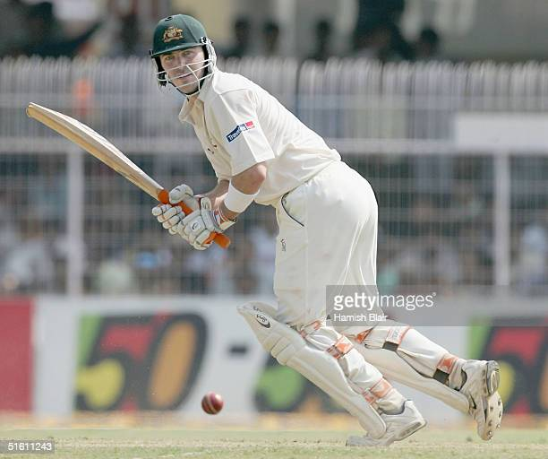 Damien Martyn of Australia in action during day four of the Third Test between India and Australia played at the VCA Stadium on October 29, 2004 in...