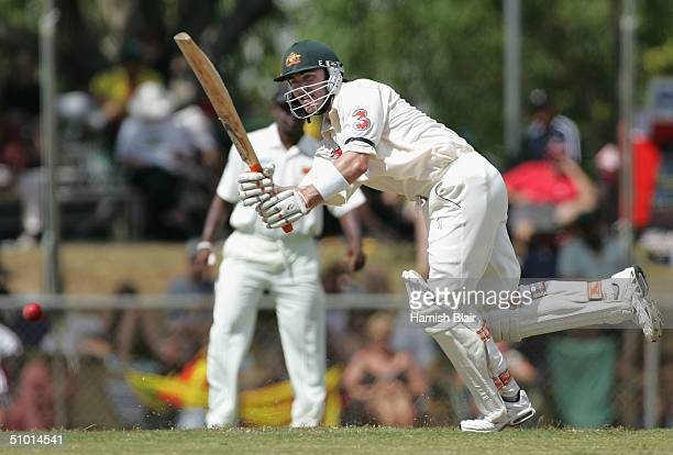 Damien Martyn of Australia in action during day one of the First Test between Australia and Sri Lanka played at Marrara Oval on July 1 2004 in...