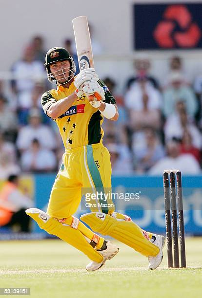 Damien Martyn of Australia plays shot during the NatWest Series One Day International between England and Australia played at Riverside on June 23...
