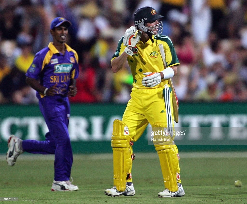 Damien Martyn of Australia turns back to exchange words with some of the Sri Lankan players as he leaves the field after being dismissed during Game 7 of the VB Series between Australia and Sri Lanka played at the Adelaide Oval on January 26, 2006 in Adelaide, Australia.