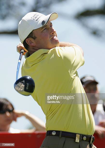 Damien McGrane of Ireland tees off on the 14th hole during round three of the New Zealand Open at Gulf Harbour Country Club on the Whangaparoa...