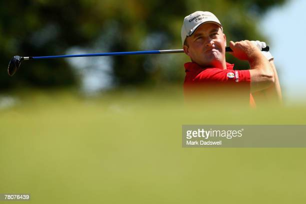 Damien McGrane of Ireland tees off on the fourth hole during round three of the MasterCard Masters held at Huntingdale Golf Course November 24, 2007...