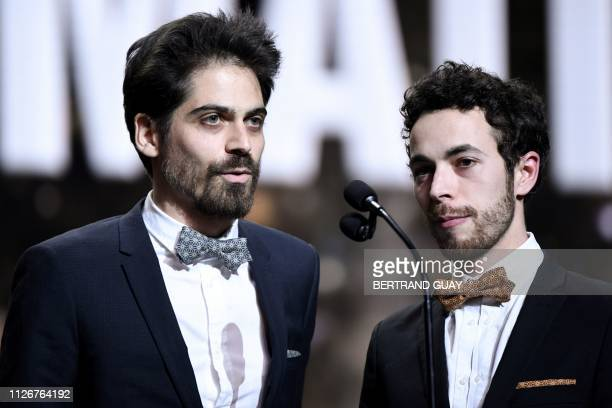 Damien Megherbi and Justin Pechberty speak after receiving the Best Animated Short Film award for 'Vilaine Fille' during the 44th edition of the...