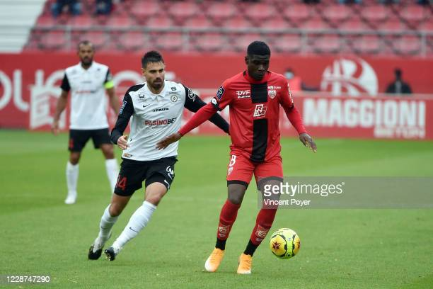 Damien of MHSC / Eric Junior DINA EBIMBE of DFCO during the Ligue 1 match between Dijon and Montpellier at Stade Gaston Gerard on September 27, 2020...