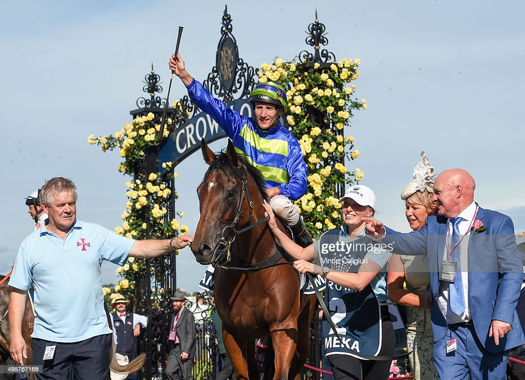 Damien Oliver after riding Jameka to win Race 8, the Crown Oaks on Oaks Day at Flemington Racecourse on November 5, 2015 in Melbourne, Australia.
