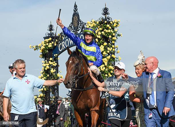 Damien Oliver after riding Jameka to win Race 8 the Crown Oaks on Oaks Day at Flemington Racecourse on November 5 2015 in Melbourne Australia
