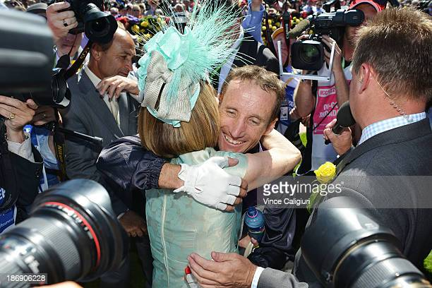 Damien Oliver hugs Trainer Gai Waterhouse after Fiorente won the Emirates Melbourne Cup during Melbourne Cup Day at Flemington Racecourse on November...