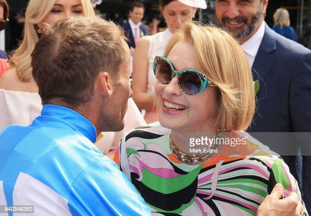 Damien Oliver hugs Trainer Gai Waterhouse after winning race 4 on Prompt Response during Sydney Racing at Rosehill Gardens on March 31 2018 in Sydney...