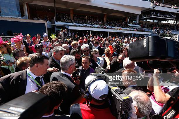 Damien Oliver riding Fiorente celebrates winning race 7 The Emirates Melbourne Cup during Melbourne Cup Day at Flemington Racecourse on November 5,...