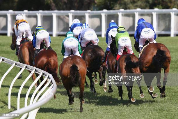 Damien Oliver riding Happy Clapper copped a 20 meeting suspsension after repeatedly bumping into Dean Yendall riding Royal Symphony here during Cox...