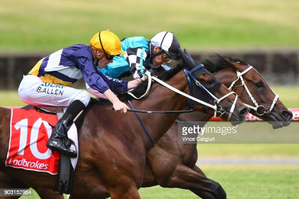 Damien Oliver riding Mutarakem defeats Ben Allen riding Savvy Belle in Race 6 during Melbourne Racing at Sandown Hillside on January 10 2018 in...