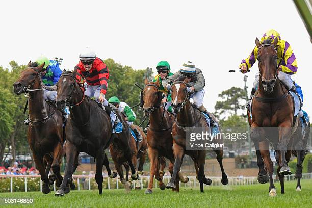 Damien Oliver riding Rocky Boomboa defeats Mark Zahra riding Love Days in Race 5 at Moonee Valley Racecourse on January 2 2016 in Melbourne Australia...