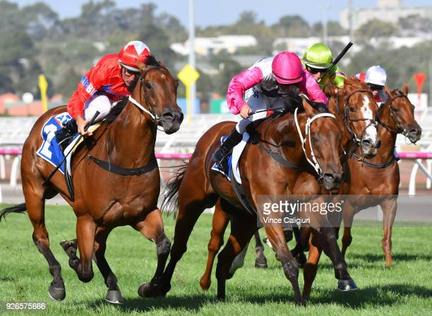 Damien Oliver riding Secret Agenda wins Race 8 during Melbourne Racing at Flemington Racecourse on March 3 2018 in Melbourne Australia