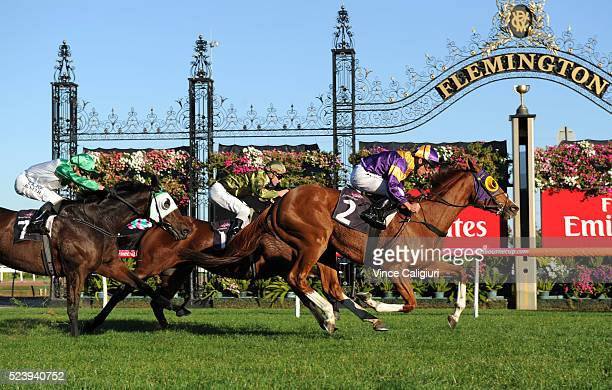 Damien Oliver riding Swacadelic wins Race 6 the Anzac Cup during Melbourne ANZAC Day Racing at Flemington Racecourse on April 25 2016 in Melbourne...